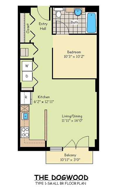 One Bedroom Apartments - The Dogwood