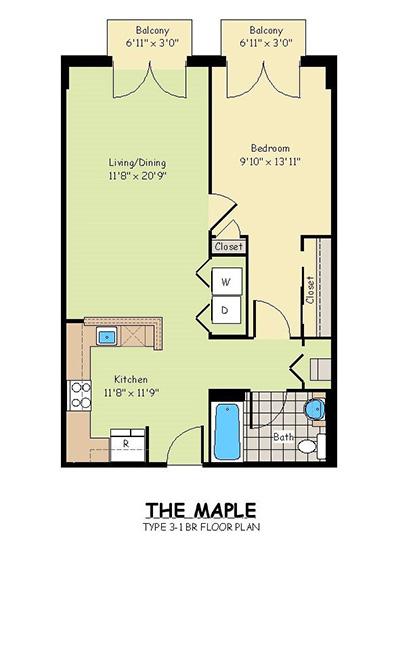 One Bedroom Apartments - The Maple