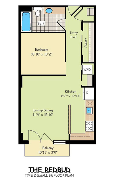 One Bedroom Apartments - The Redbud