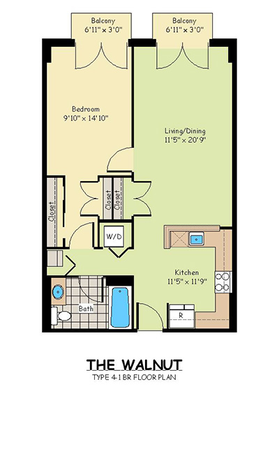 One Bedroom Apartments - The Walnut
